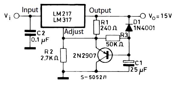 Стабилизатор на 15 В с плавным включением