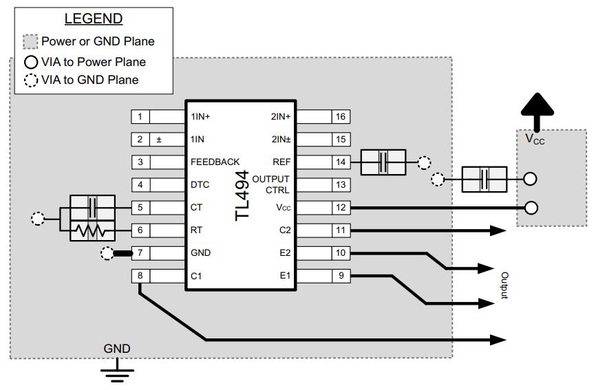 Пример печатной платы при использовании ОУ по неинвертирующей схеме