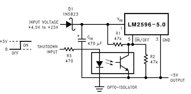 Схема инвертора с подачей отключающего напряжения относительно земли с использованием оптопары