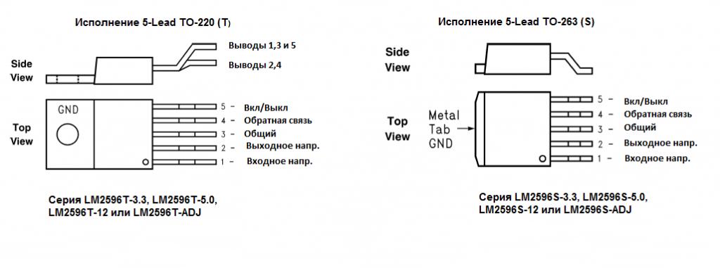 Расположение выводов LM2596