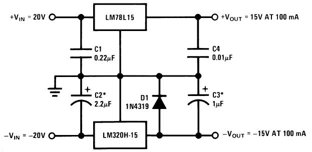 Стабилизатор для для 2-х полярного блока питания на ±15 В, 100 мА