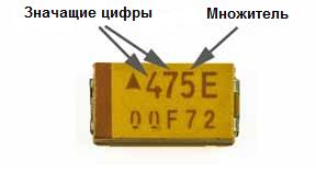 Маркировка SMD танталовых конденсаторов
