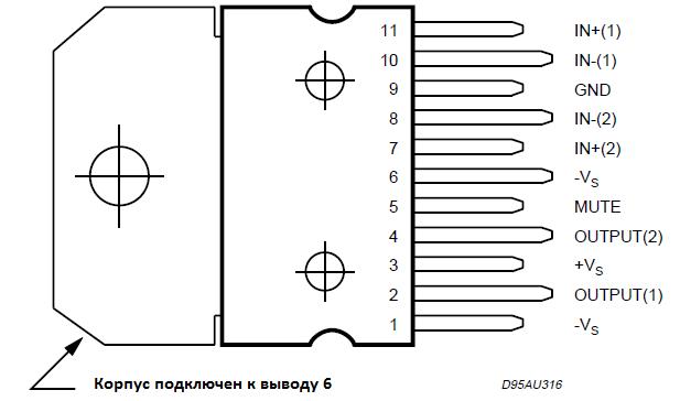 Расположение выводов (вид сверху)