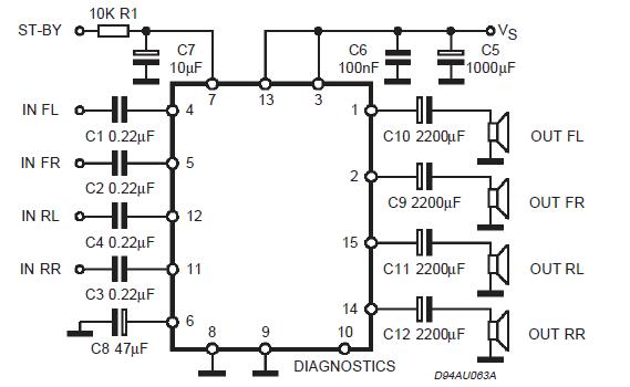 Схема четырехканального усилителя