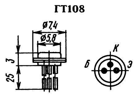 Цоколевка транзистора ГТ108