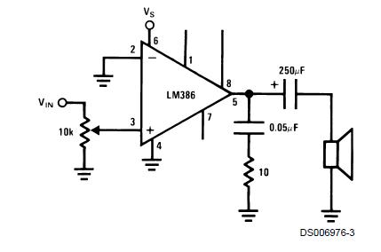 Схема усилителя на LM386 с коэффициентом усиления 20