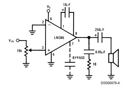 Схема усилителя на LM386 с коэффициентом усиления 200