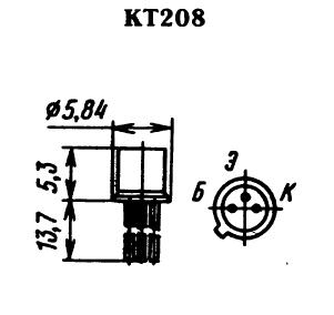 Цоколевка транзистора КТ208