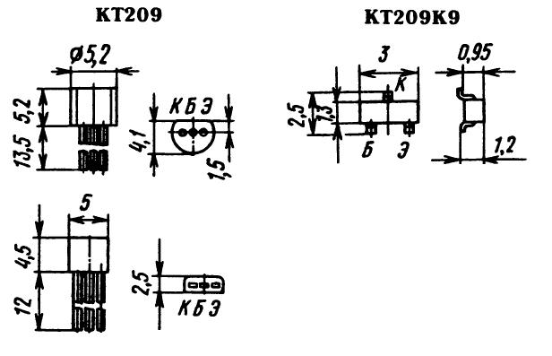 Цоколевка транзистора КТ209