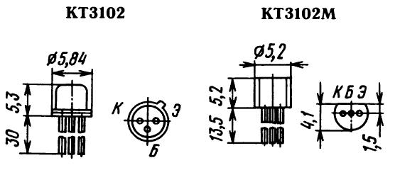 Цоколевка транзисторов КТ3102 (слева) и КТ3102М, КТ3102-2 (справа)