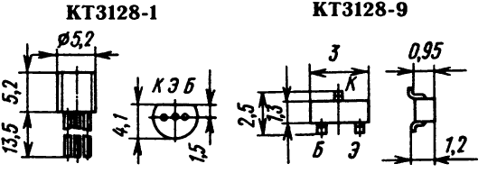 Цоколевка транзисторов КТ3128-1, КТ3128-9