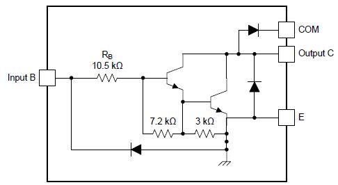 Внутренняя схема для каждой ячейки ULN2004A и LQ2004A