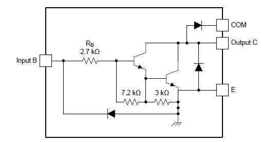 Внутренняя схема для каждой ячейки ULN2003A, ULQ2003A и ULN2003AI