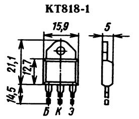 Цоколевка транзистора КТ818-1