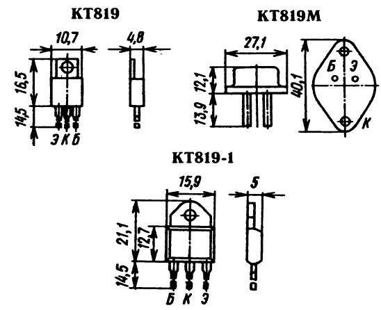 Цоколевка транзистора КТ819