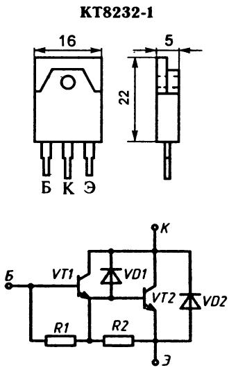 Цоколевка и внутренняя схема транзистора КТ8232