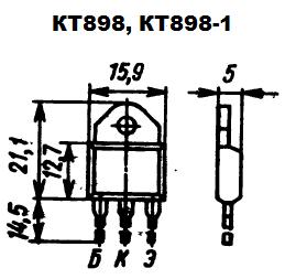 Цоколевка транзисторов КТ898, КТ898-1. Коллектор КТ898-1 изолирован от корпуса.