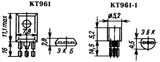 Цоколевка транзисторов КТ961, КТ961-1