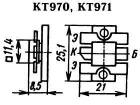 Цоколевка транзисторов КТ970, КТ971