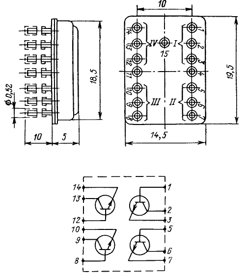 Цоколевка транзисторной сборки КТС613