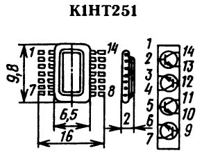 Цоколевка транзисторной сборки К1НТ251