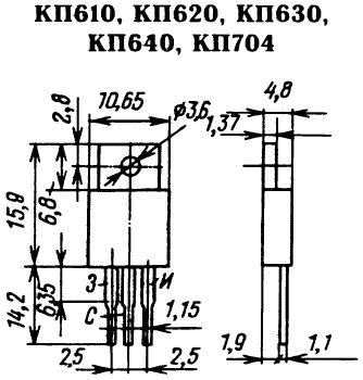 Цоколевка транзисторов КП610, КП620, КП630, КП640, КП704
