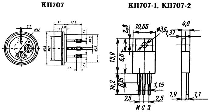 Цоколевка транзистора КП707