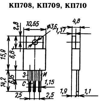 Цоколевка транзисторов КП708, КП709, КП710