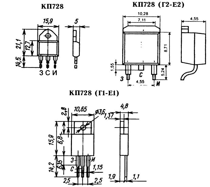 Цоколевка транзистора КП728