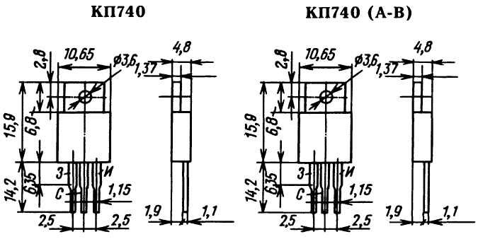 Цоколевка транзистора КП740