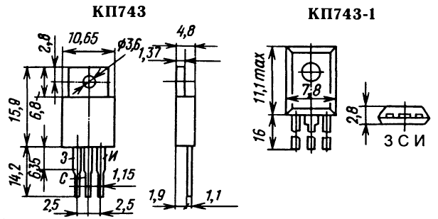 Цоколевка транзистора КП743