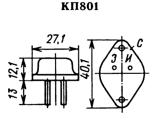 Цоколевка транзистора КП801
