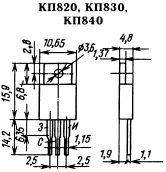 Цоколевка транзисторов КП820, КП830, КП840