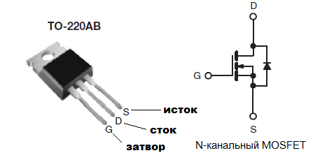 Расположение выводов IRF740
