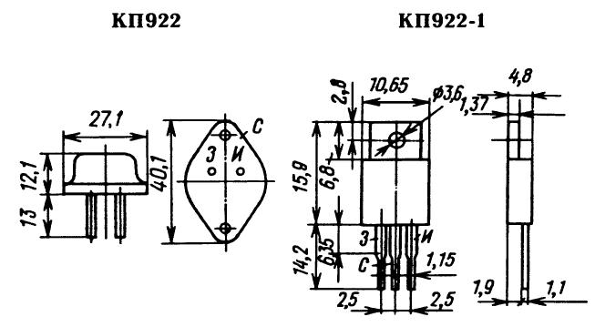 Цоколевка транзистора КП922