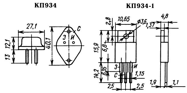 Цоколевка транзистора КП934