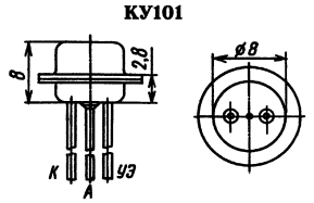 Цоколевка тиристора КУ101