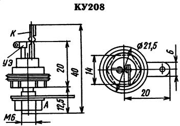Цоколевка тиристора КУ208
