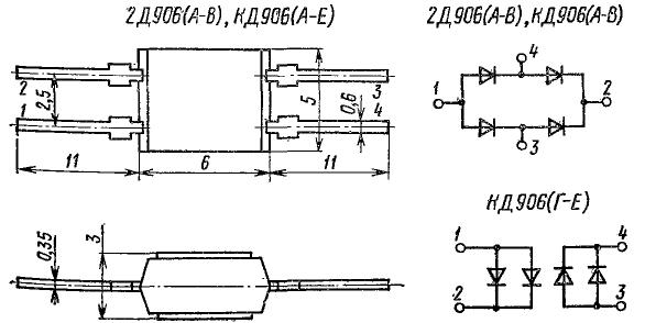 Корпус и соединение выводов диодов КД906, 2Д906
