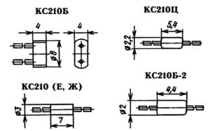 Типы корпусов стабилитрона КС210