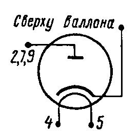 Схема соединения электродов лампы 6Д14П