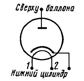 Схема соединения электродов лампы 6Д16Д