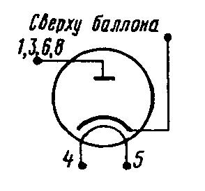 Схема соединения электродов лампы 6Д22С