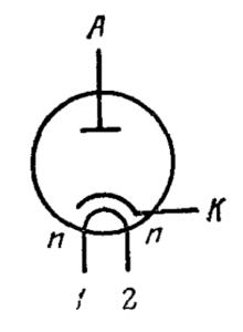 Схема соединения электродов лампы 6Д24Н