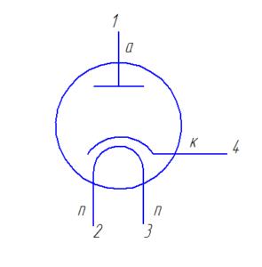 Схема подключения электродов лампы 6Д6А