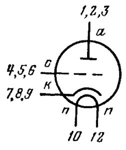 Схема соединения электродов лампы 6С63Н