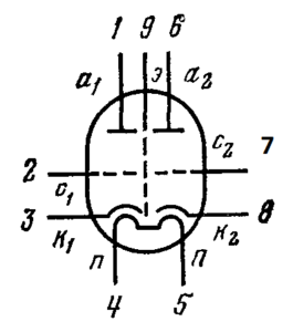 Схема соединения электродов лампы 6Н6П