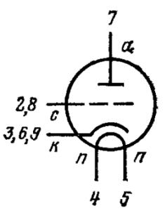 Схема соединения электродов лампы 6С15П