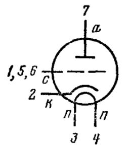 Схема соединения электродов лампы 6С2П