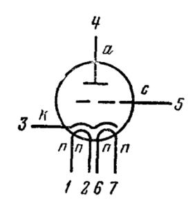 Схема соединения электродов лампы 6С33С